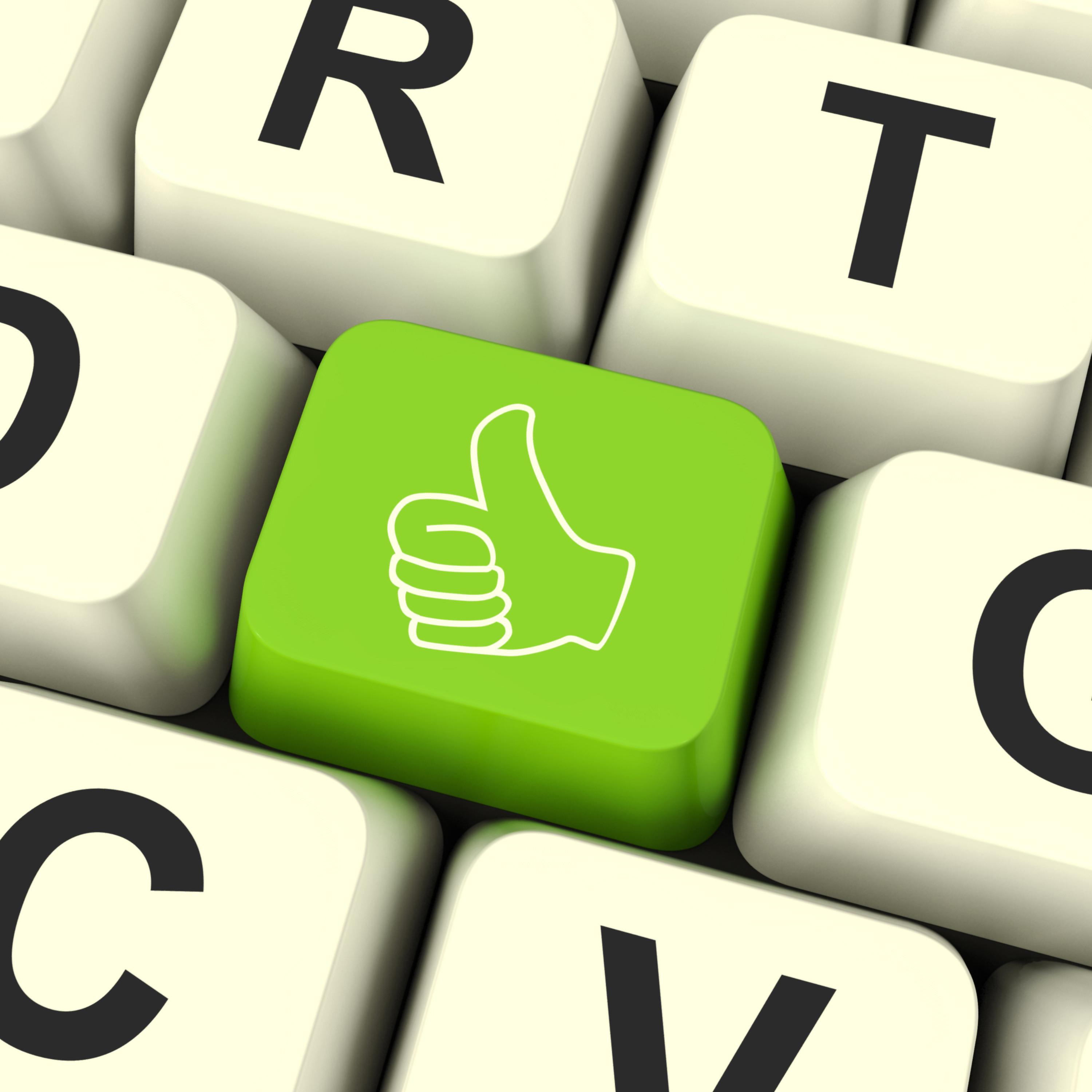 Thumbs Up Computer Key Showing Approval And Being A Fan